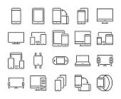 Device icon. Electronic and devices line icons set. Editable stroke. Pixel Perfect