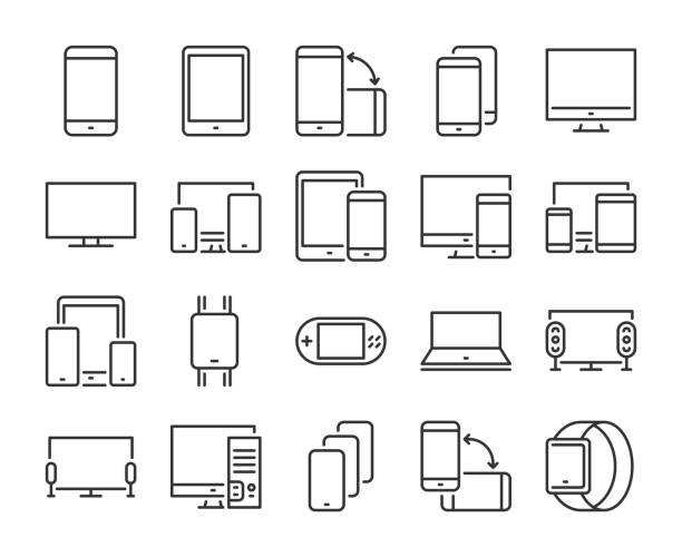 Device icon. Electronic and devices line icons set. Editable stroke. Pixel Perfect. Device icon. Electronic and devices line icons set. Editable stroke. Pixel Perfect desktop pc stock illustrations