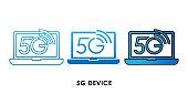 5G Device icon logo vector illustration. 5G internet connection vector template design. 5G network technology vector illustration for website, sign, symbol, logo, app, UI.