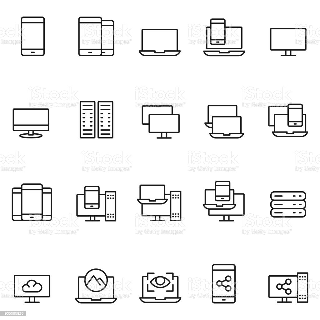 Device icon set vector art illustration