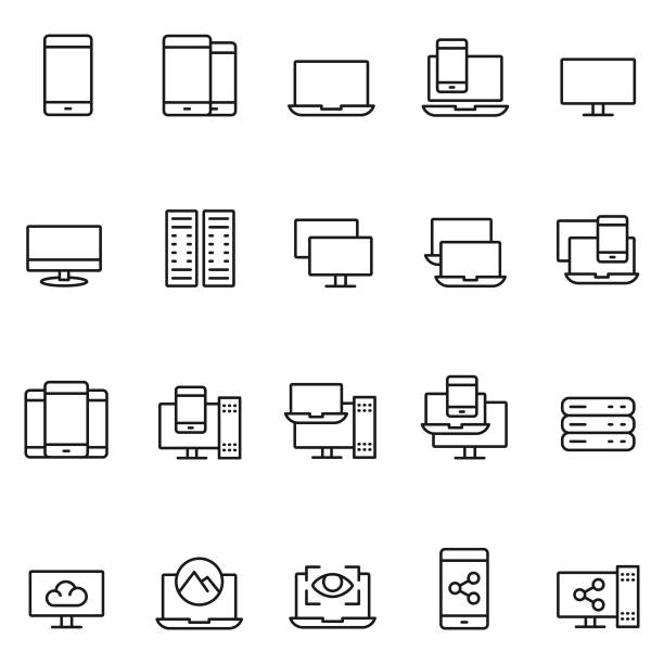 aygıt icon set - ekipman stock illustrations