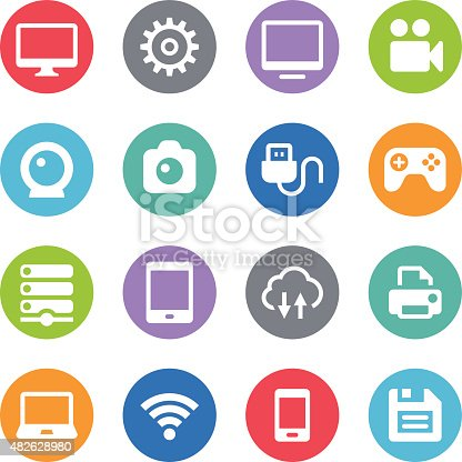 Set of 16 Digital device vector icons placed on colorful circles. Easy resize. There are icons: Digital Tablet icon, Smart Phone icon, Video Camera, Laptop, Monitor, Server, Photo Camera, Game Controller, Floppy Disk, Gear icon, USB icon, Webcamera icon.