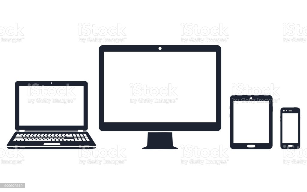 Device icons - desktop computer, laptop, smart phone and tablet royalty-free device icons desktop computer laptop smart phone and tablet stock illustration - download image now