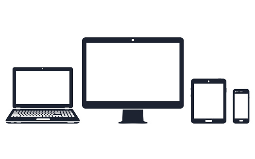 Device icons - desktop computer, laptop, smart phone and tablet clipart