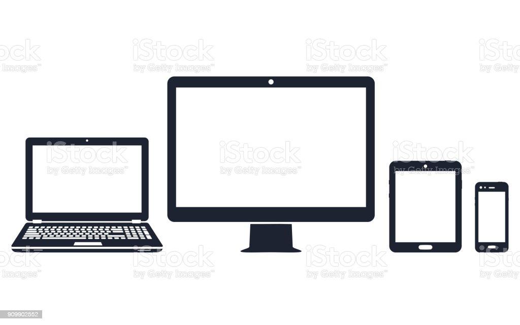 Iconos de dispositivo - ordenador de sobremesa, ordenador portátil, teléfono inteligente y tableta - ilustración de arte vectorial