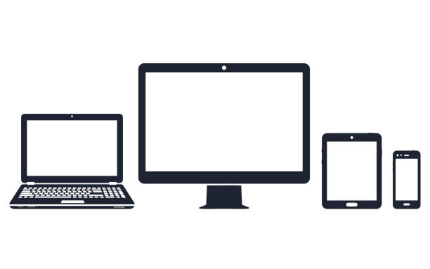 Device icons - desktop computer, laptop, smart phone and tablet Device icons - desktop computer, laptop, smart phone and tablet. Vector illustration desktop pc stock illustrations