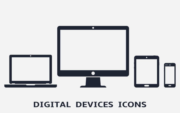 Device-Symbole: smart Phone, Tablet, Laptop und Desktop-Computer. Vektor-Illustration von responsive Webdesign. – Vektorgrafik