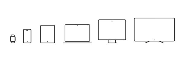 Device Icons: smartwatch, smartphone, tablet, laptop, desktop computer and tv. Vector illustration, flat design Device Icons: smartwatch, smartphone, tablet, laptop, desktop computer and tv. Vector illustration, flat design television set stock illustrations
