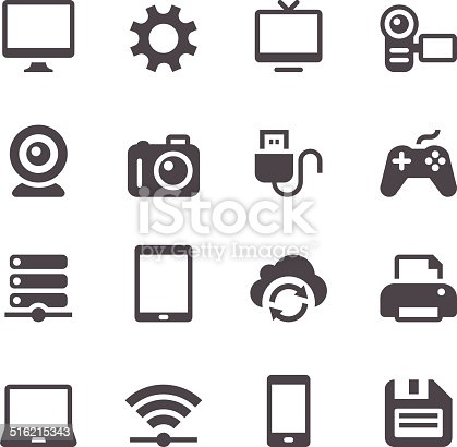 Set of 16 device vector icons. Easy resize.