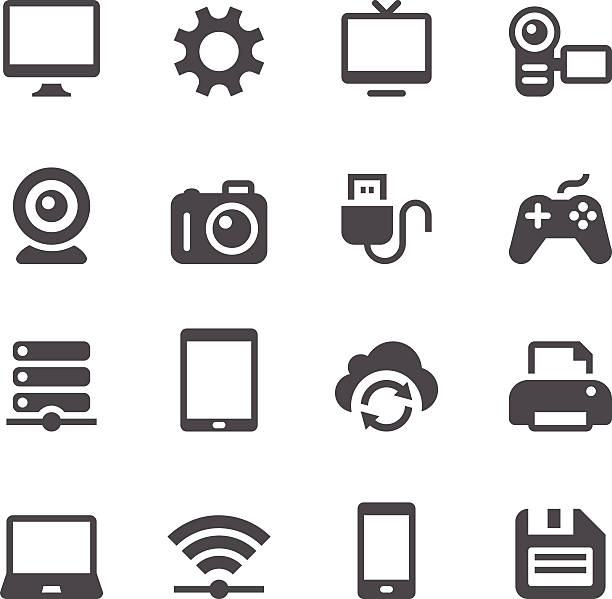 Device Icons Set of 16 device vector icons. Easy resize. game controller stock illustrations