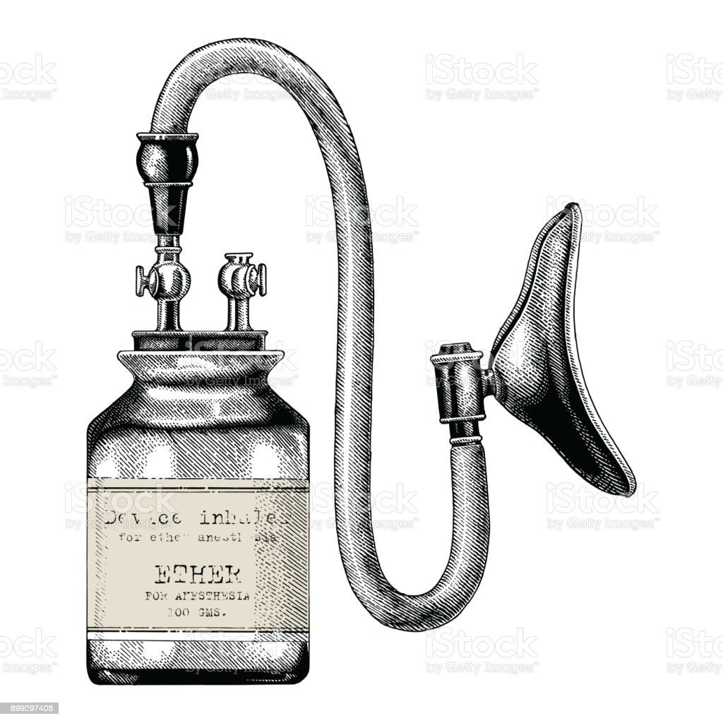 Device inhaler for ether anesthesia vintage clip art hand drawing isolate on white background