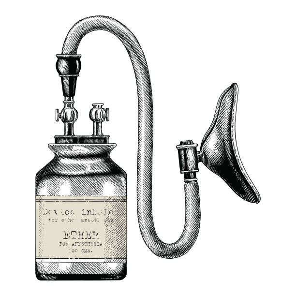 Device inhaler for ether anesthesia vintage clip art hand drawing isolate on white background Device inhaler for ether anesthesia vintage clip art hand drawing isolate on white background anesthetic stock illustrations