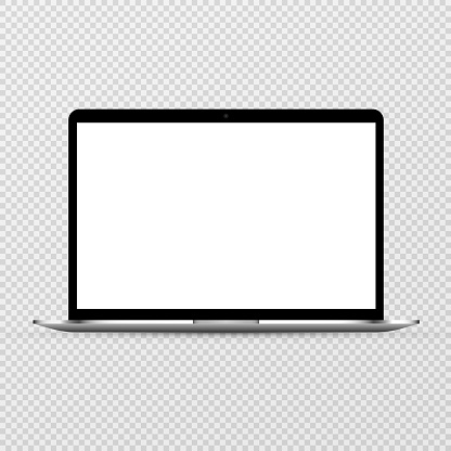 Device screen mockup. Laptop mockup with blank screen. Mock up for text or design. PNG.