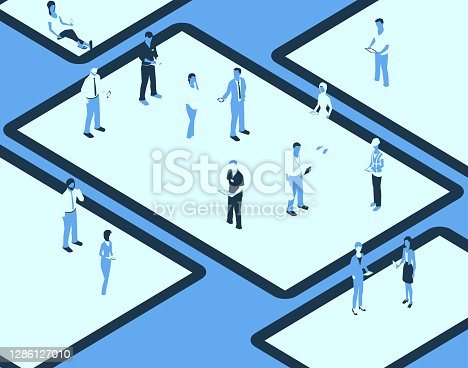 istock Device screens with people in a blue color palette 1286127010