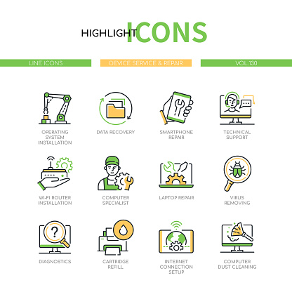 Device service and repair - modern line design style icons set