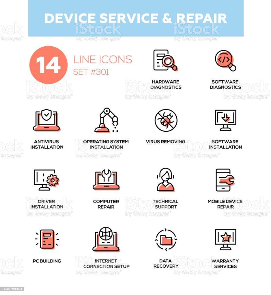 Device service repair - modern vector single line icons set vector art illustration