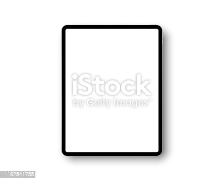 Device ipad pro with 12.9 inch display. Template frame with shadow. Tablet pc, mobile device. Multi-touch gadget. Template for design and presentation. Vector ipad illustration