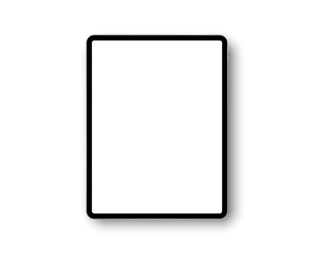 Device tablet computer pro with 12.9 inch display. Template frame with shadow. Tablet pc, mobile device. Vector illustration Device tablet computer pro with 12.9 inch display. Template frame with shadow. Tablet pc, mobile device. Multi-touch gadget. Template for design and presentation. Vector tablet computer illustration ipad stock illustrations