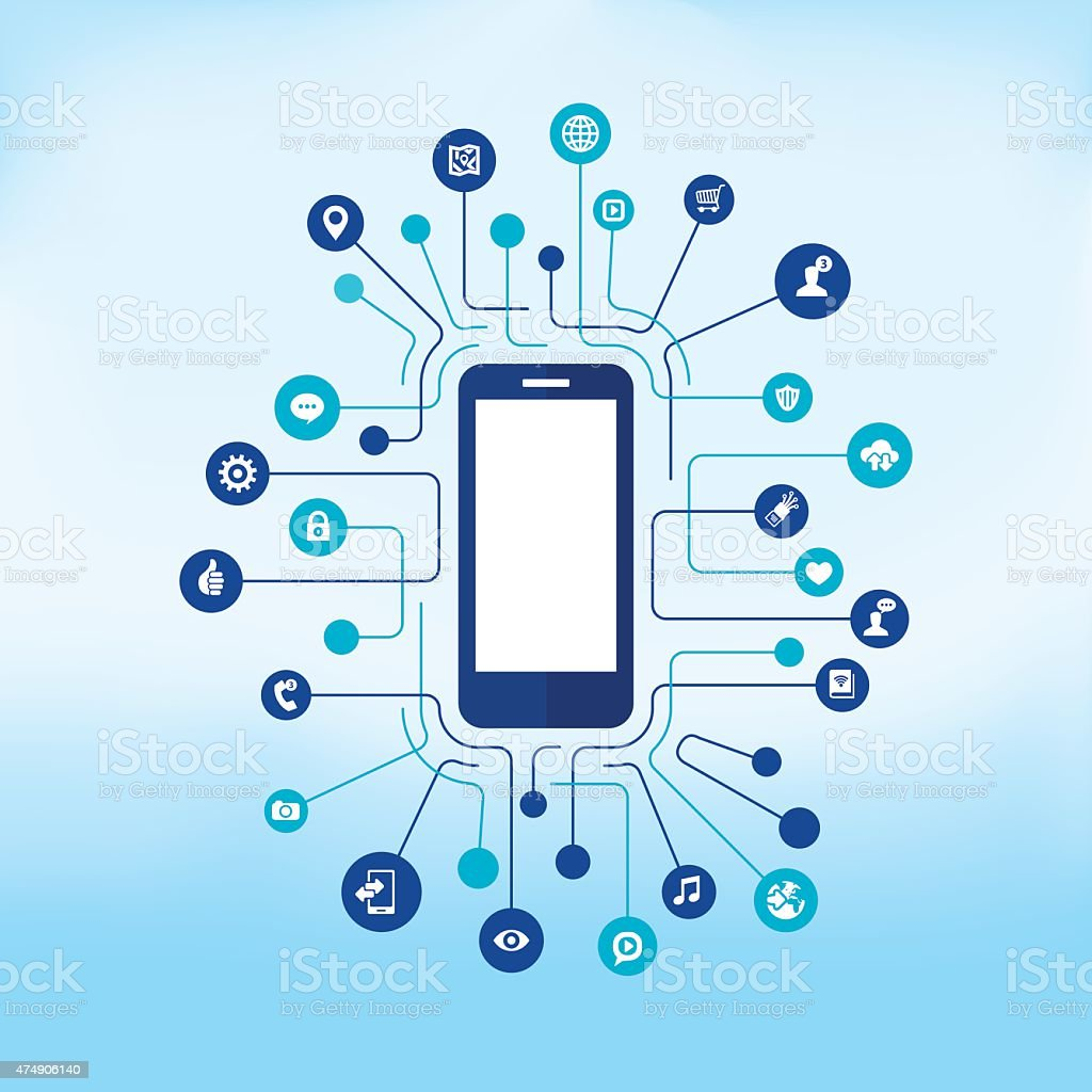 Device with social network communication vector art illustration