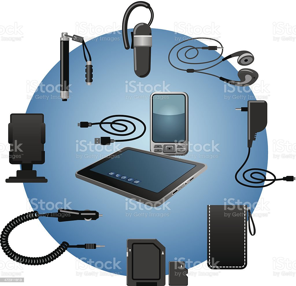 devices accessories vector art illustration