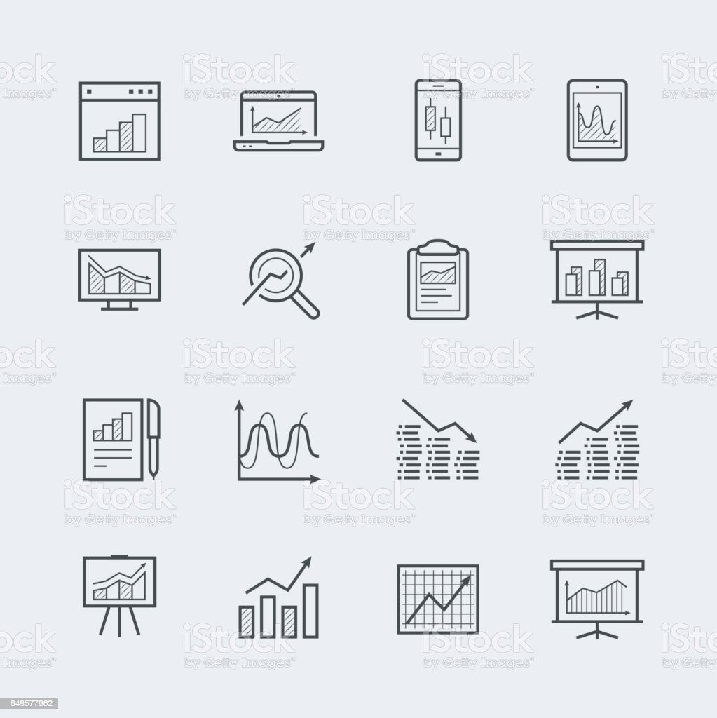 Devices and objects with charts and graphs icon set in thin line style vector art illustration