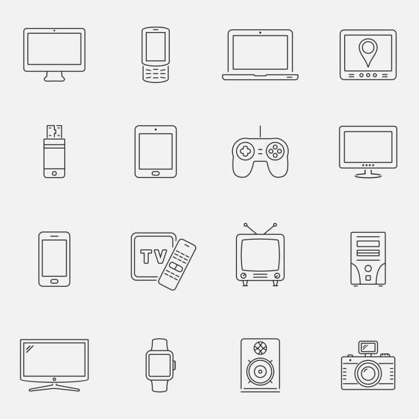Geräte und Technologie Icons Set, dünne Linienstil – Vektorgrafik