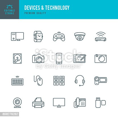 Set of Devices and Technology thin line vector icons.