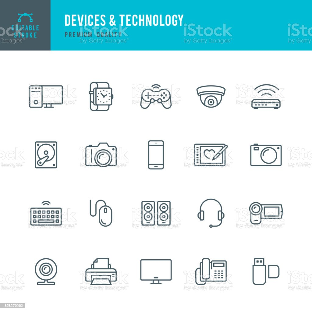 Devices and Technology - Thin Line Icon Set vector art illustration