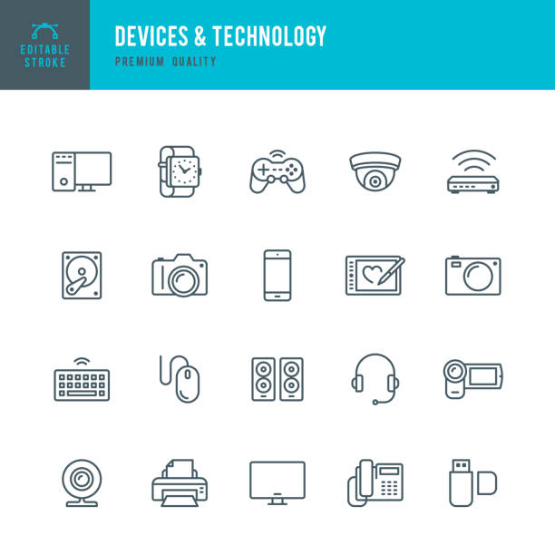 Devices and Technology - Thin Line Icon Set Set of Devices and Technology thin line vector icons. game controller stock illustrations