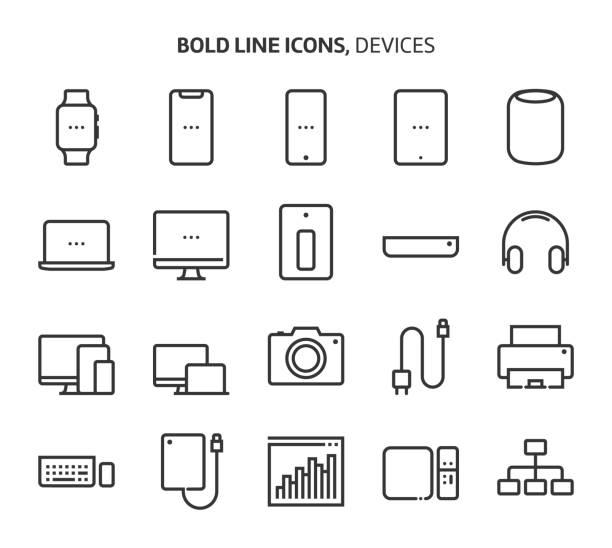urządzenia, pogrubione ikony linii - akcesorium osobiste stock illustrations