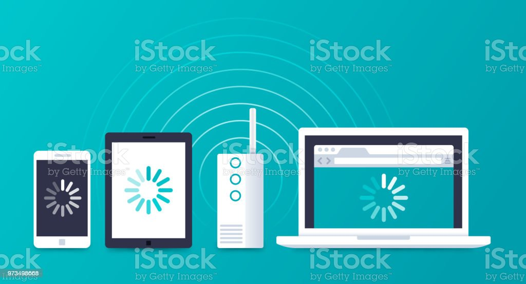 WIFI Devices Connecting Internet vector art illustration