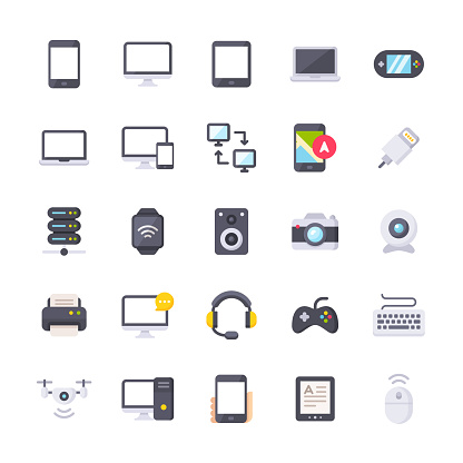 25 Devices Flat Icons.