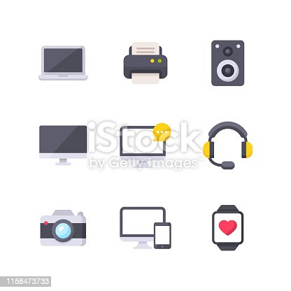 9 Devices Flat Icons.