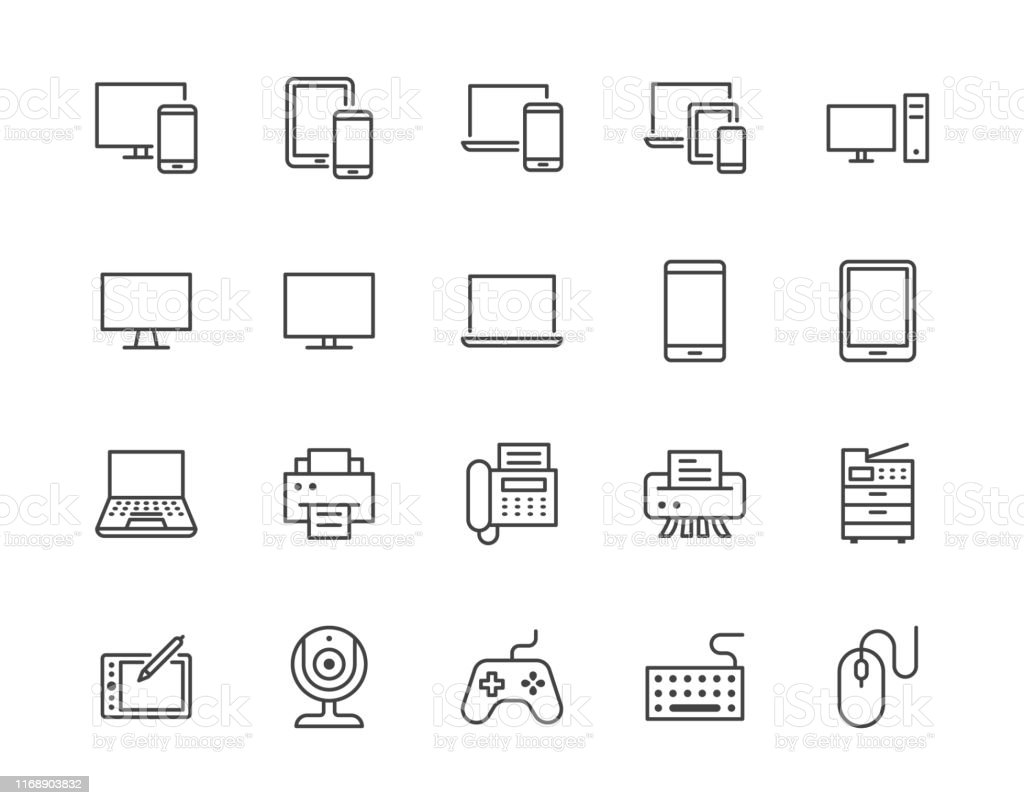 Devices flat line icons set. Pc, laptop, computer, smartphone, desktop, office copy machine vector illustrations. Outline minimal signs for electronic store. Pixel perfect 64x64. Editable Strokes - Royalty-free Arte Linear arte vetorial