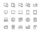 Devices flat line icons set. Pc, laptop, computer, smartphone, desktop, office copy machine vector illustrations. Outline minimal signs for electronic store. Pixel perfect 64x64. Editable Strokes.