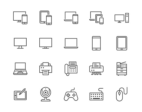 Devices flat line icons set. Pc, laptop, computer, smartphone, desktop, office copy machine vector illustrations. Outline minimal signs for electronic store. Pixel perfect 64x64. Editable Strokes clipart