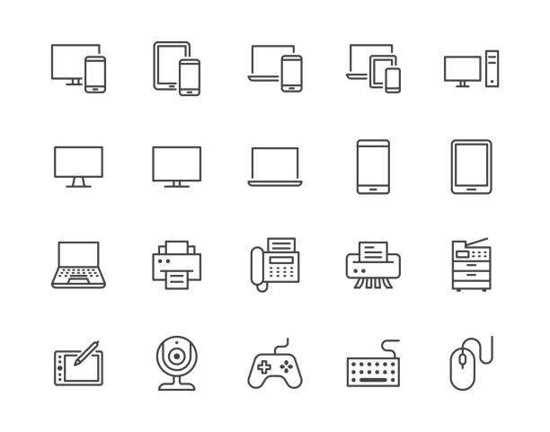 illustrazioni stock, clip art, cartoni animati e icone di tendenza di devices flat line icons set. pc, laptop, computer, smartphone, desktop, office copy machine vector illustrations. outline minimal signs for electronic store. pixel perfect 64x64. editable strokes - icona line