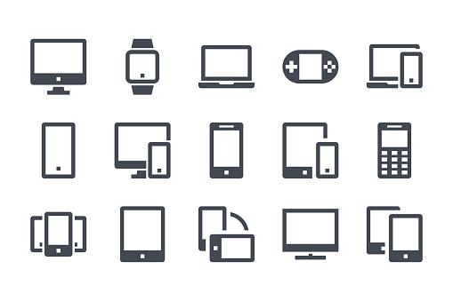 Devices glyph icon set. Computer, smartphone and electronic devices filled icons. Smart device solid vector sign collection.