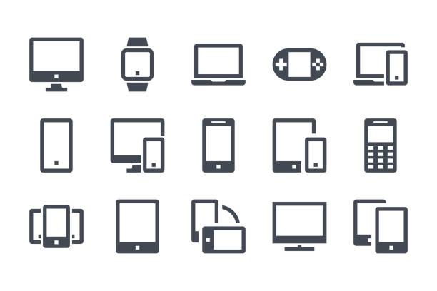 bildbanksillustrationer, clip art samt tecknat material och ikoner med enheter glyf ikonuppsättning. dator, smartphone och elektroniska enheter fyllda ikoner. smart enhet solid vektor tecken samling. - laptop