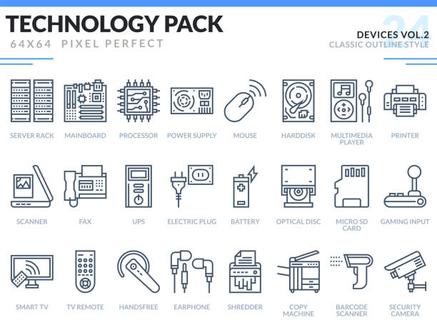 Devices Icons Set. Technology outline icons pack. Pixel perfect thin line vector icons for web design and website application. vector art illustration