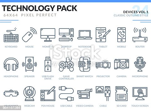 Devices Icons Set.  Technology outline icons pack. Pixel perfect thin line vector icons for web design and website application.