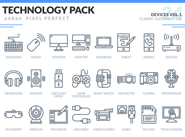 devices icons set.  technology outline icons pack. pixel perfect thin line vector icons for web design and website application. - computer keyboard stock illustrations, clip art, cartoons, & icons
