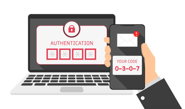 devices laptop and phone, sms authentication code - dwa przedmioty stock illustrations