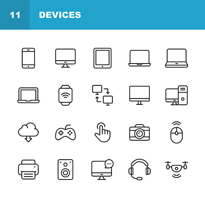 Devices Line Icons Editable Stroke Pixel Perfect For Mobile And Web Contains Such Icons As Smartphone Printer Smart Watch Gaming Drone - Stockowe grafiki wektorowe i więcej obrazów Aparat fotograficzny