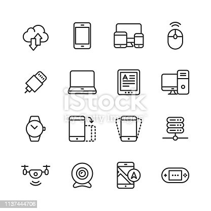 16 Devices Outline Icons.