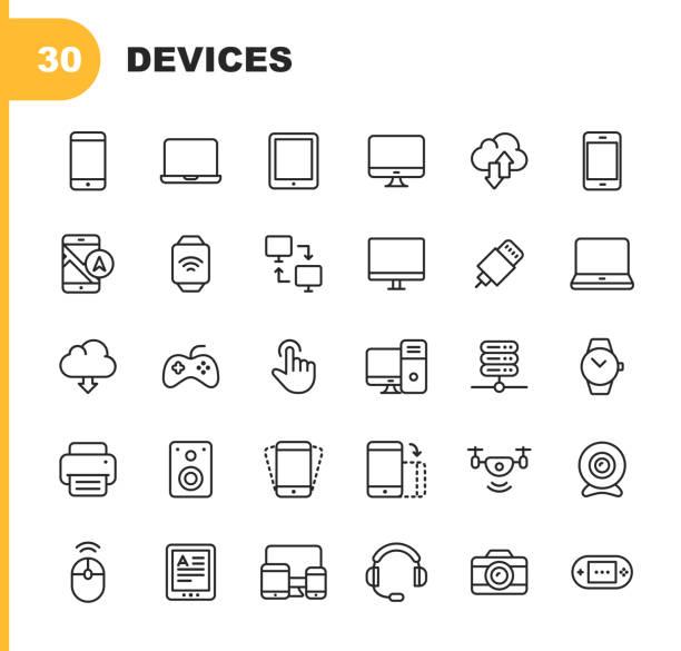 ikony linii urządzeń. edytowalny obrys. pixel perfect. dla urządzeń mobilnych i sieci web. zawiera takie ikony jak smartfon, smartwatch, gry, sieć komputerowa, drukarka. - przemysł elektroniczny stock illustrations