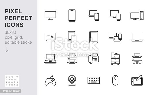 Devices line icons set. Computer, laptop, mobile phone, fax, scanner, smartphone minimal vector illustrations. Simple flat outline sign for web, technology app. 30x30 Pixel Perfect. Editable Strokes.