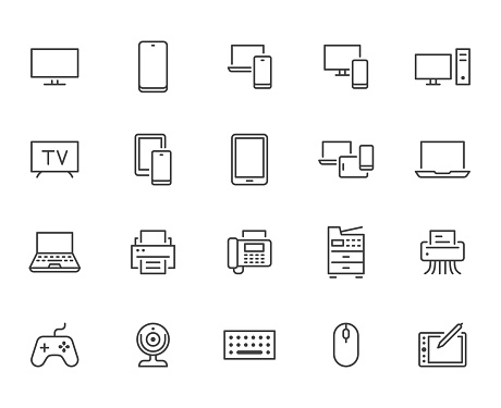 Devices line icons set. Computer, laptop, mobile phone, fax, scanner, smartphone minimal vector illustrations. Simple flat outline sign for web, technology app. Pixel Perfect. Editable Strokes.