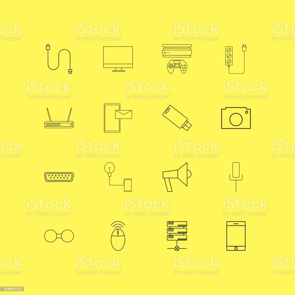 Devices linear icon set. Simple outline icons vector art illustration