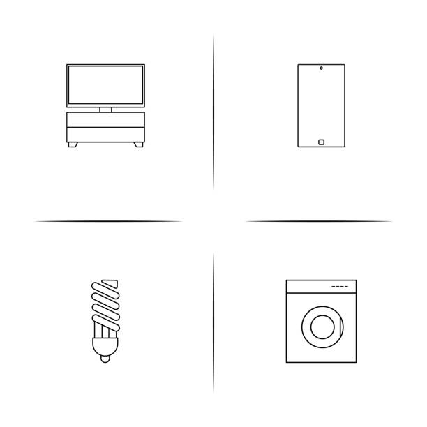 Devices simple linear icon set.Simple outline icons vector art illustration